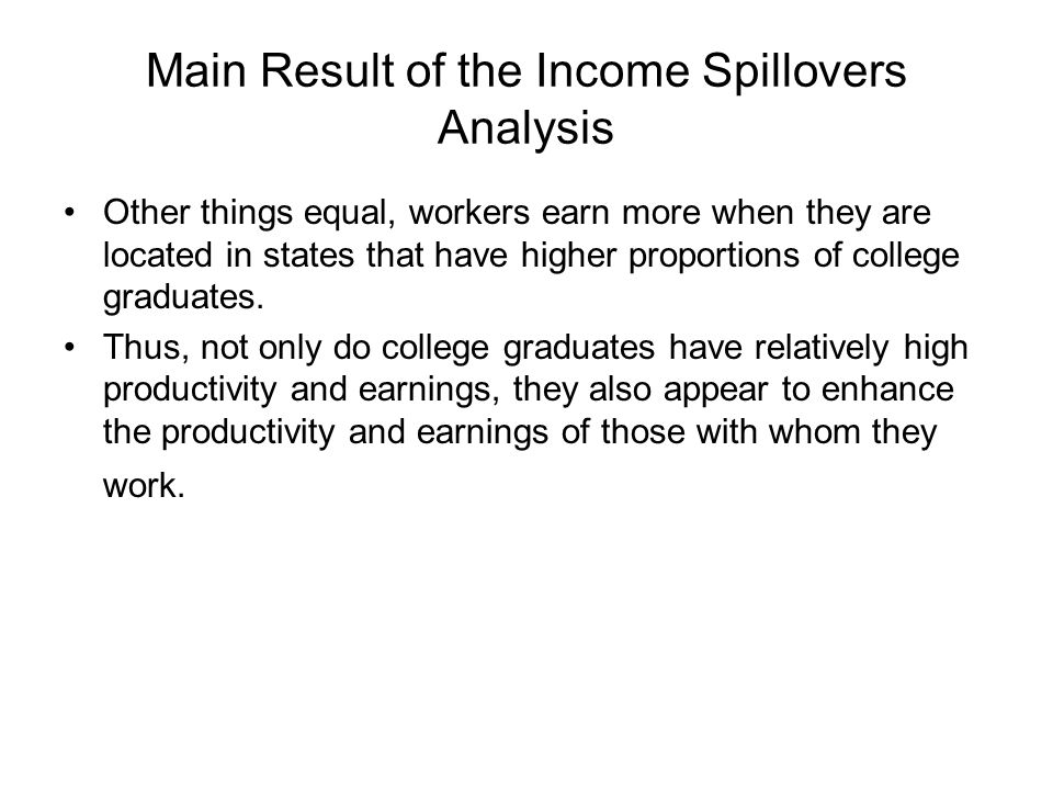 Main Result of the Income Spillovers Analysis