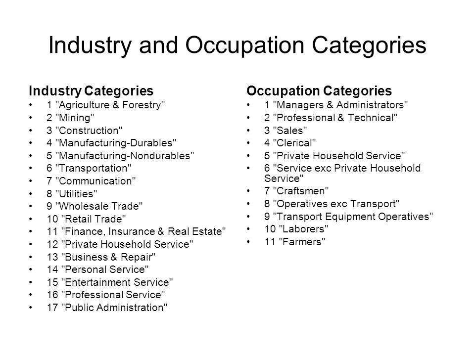 Industry and Occupation Categories