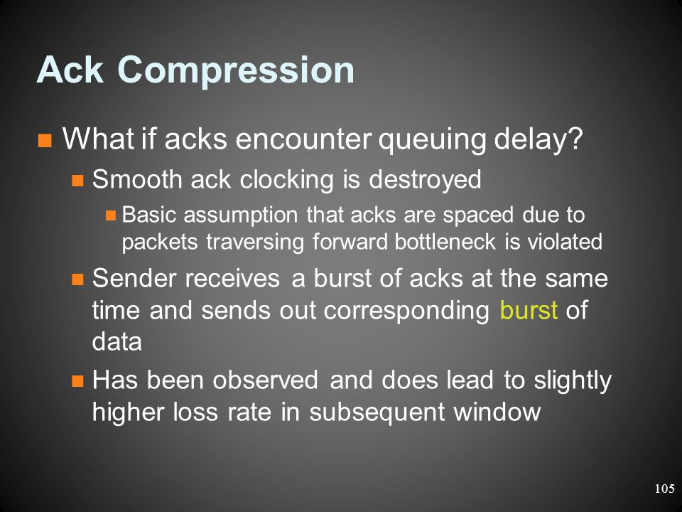 Ack Compression What if acks encounter queuing delay