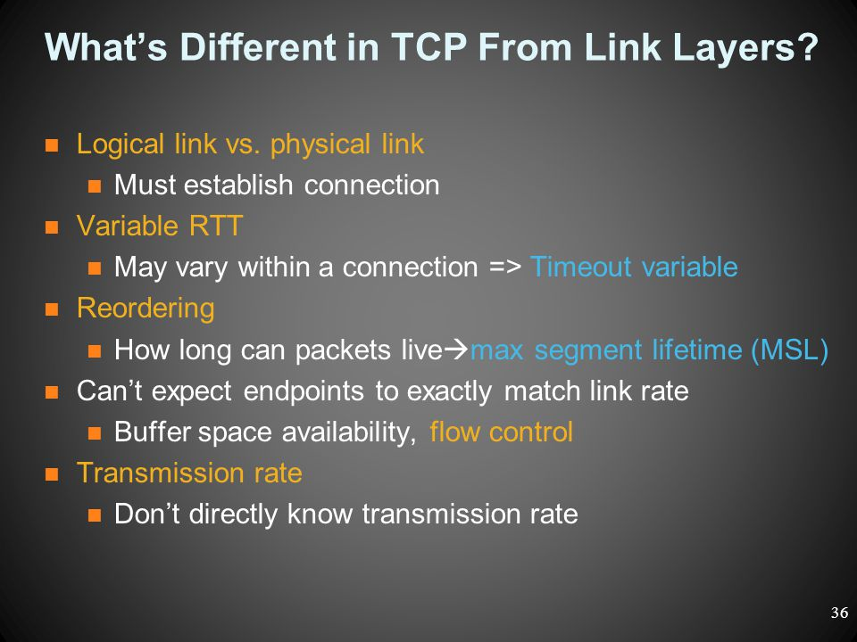 What's Different in TCP From Link Layers