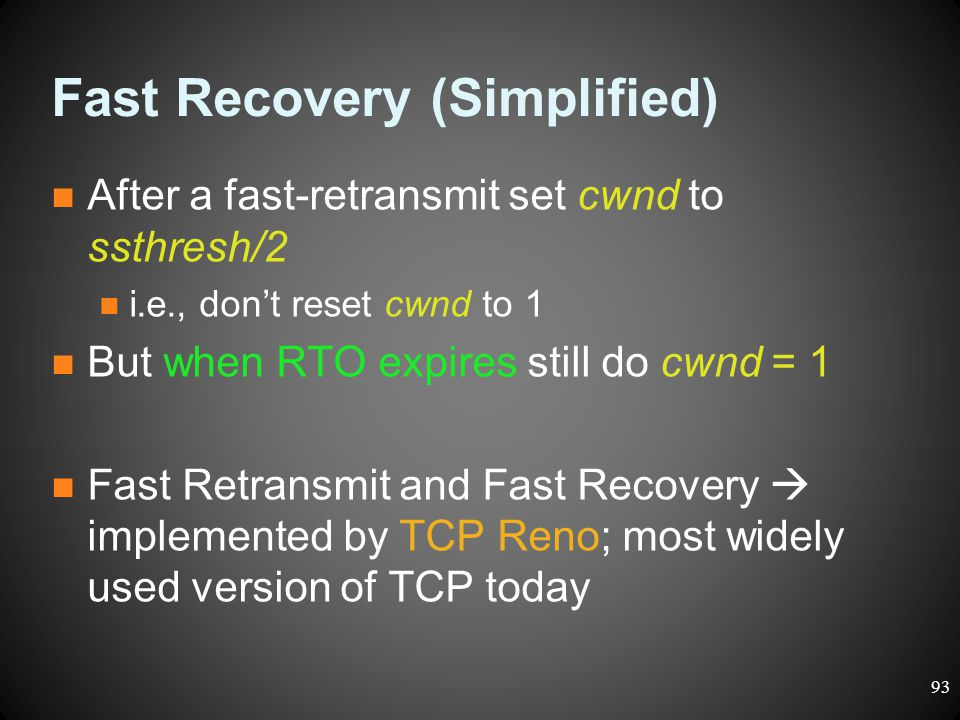 Fast Recovery (Simplified)