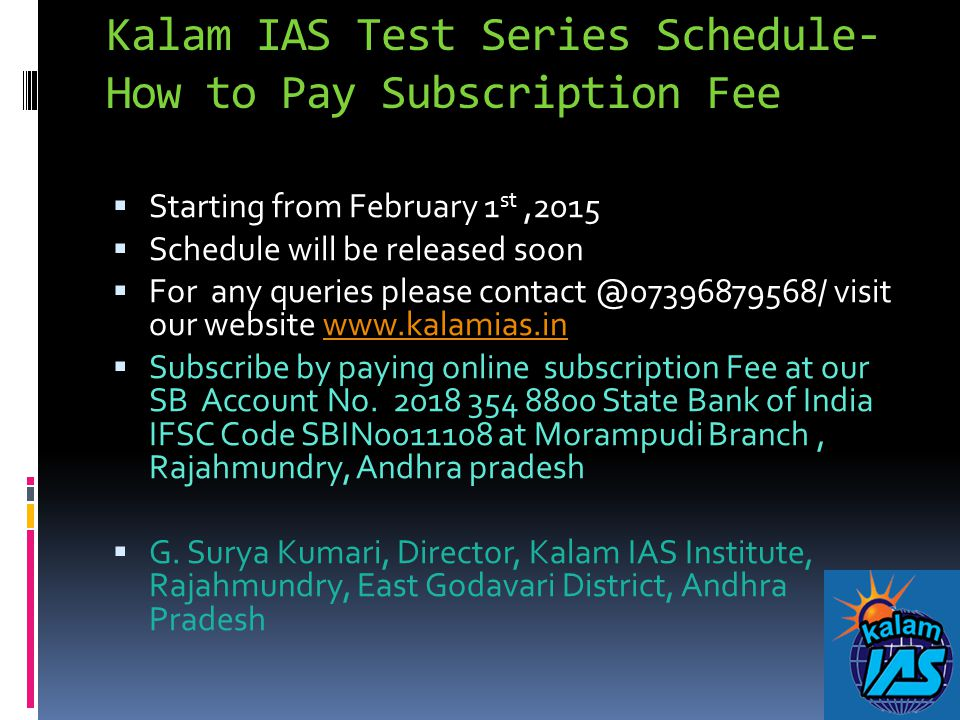 Kalam IAS Test Series Schedule-How to Pay Subscription Fee