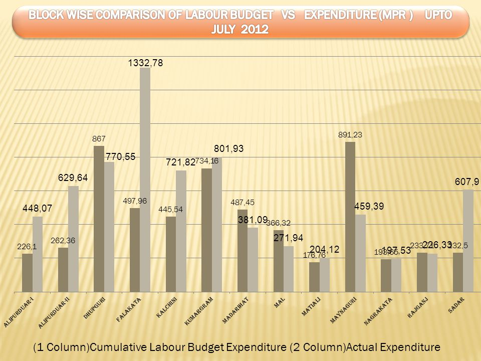 BLOCK WISE COMPARISON OF LABOUR BUDGET VS EXPENDITURE (MPR ) UPTO