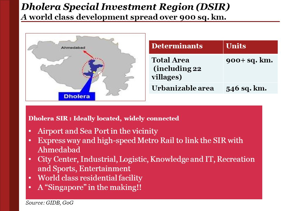 Dholera Special Investment Region (DSIR) A world class development spread over 900 sq. km.