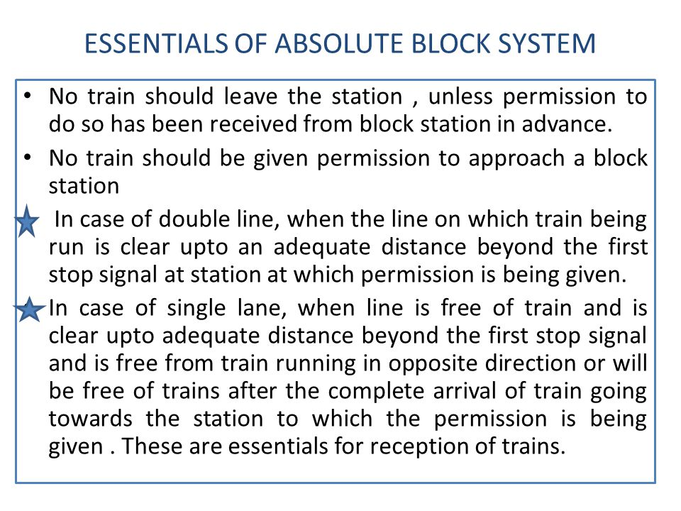 ESSENTIALS OF ABSOLUTE BLOCK SYSTEM