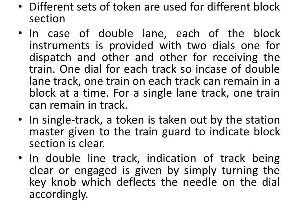 Different sets of token are used for different block section