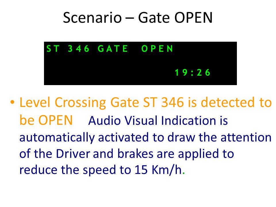Scenario – Gate OPEN S T 3 4 6 G A T E O P E N. 1 9 : 2 6.