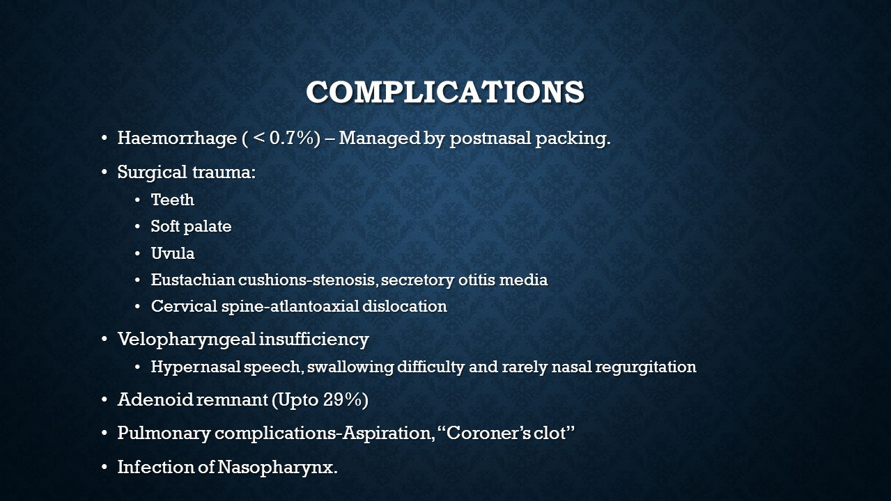 Complications Haemorrhage ( < 0.7%) – Managed by postnasal packing.