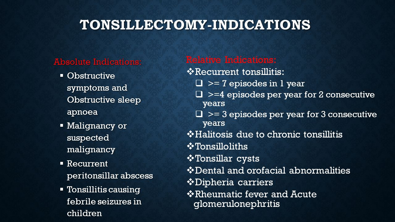 Tonsillectomy-Indications