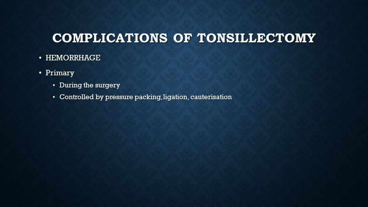 Complications of Tonsillectomy