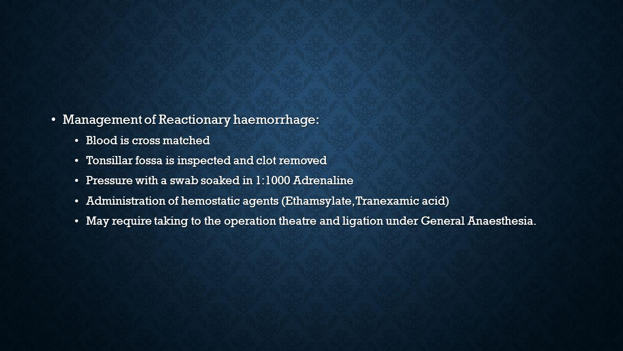 Management of Reactionary haemorrhage: