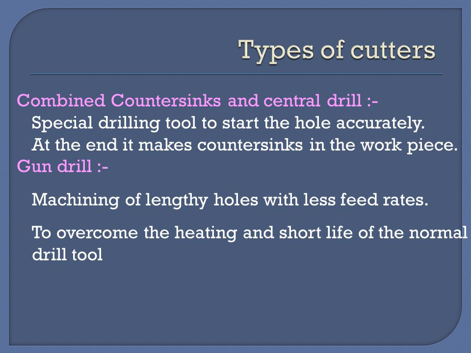 Types of cutters Combined Countersinks and central drill :-