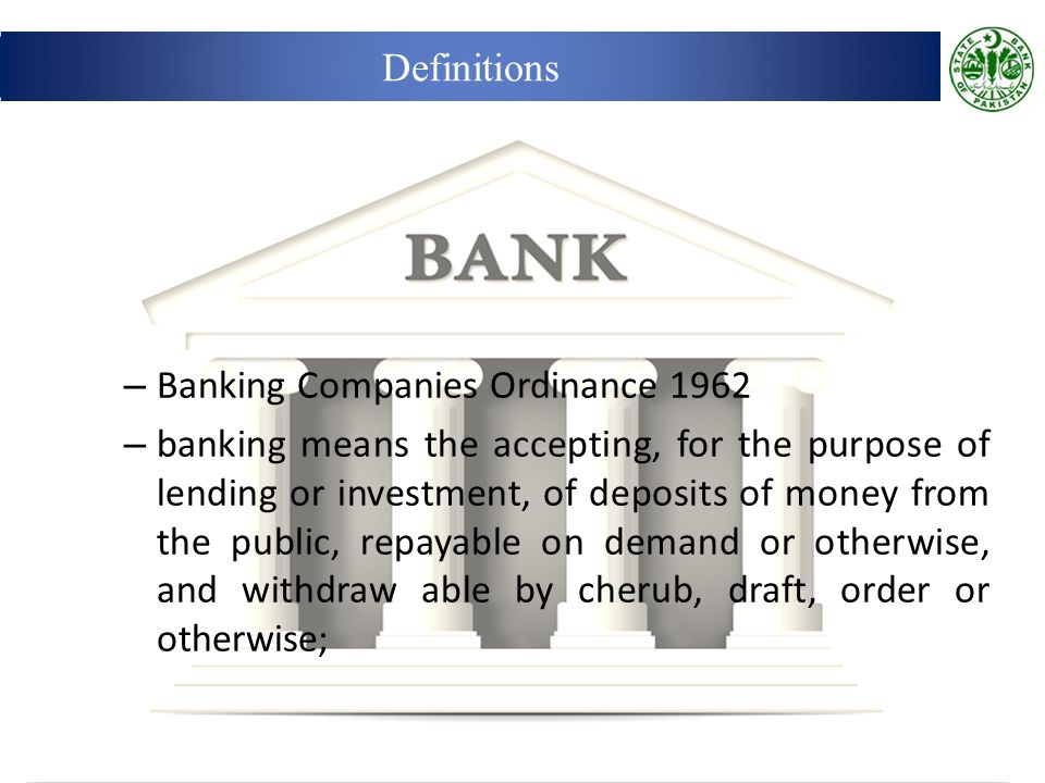 Definitions Banking Companies Ordinance 1962.