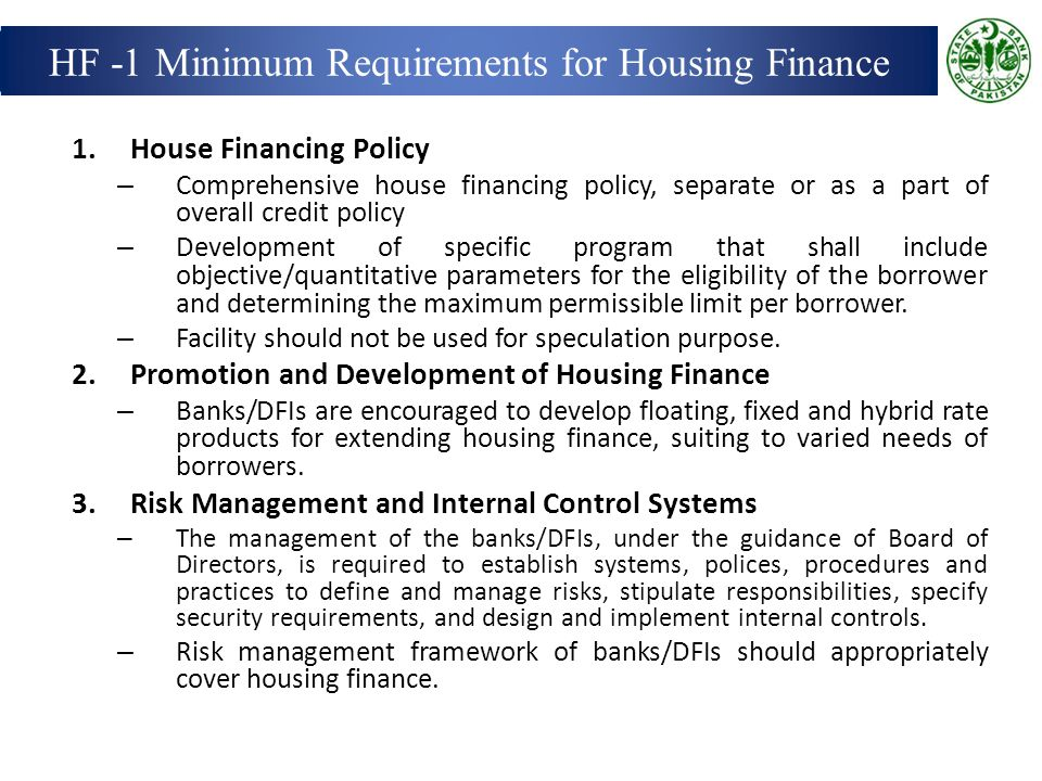 HF -1 Minimum Requirements for Housing Finance