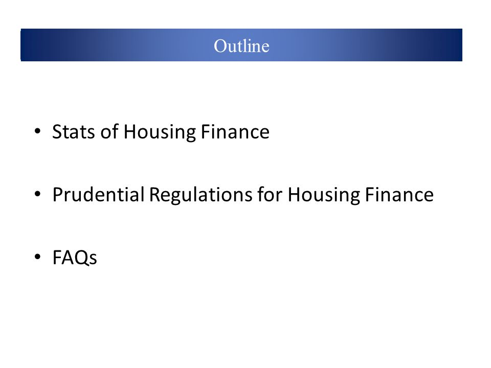 Definitions Stats of Housing Finance