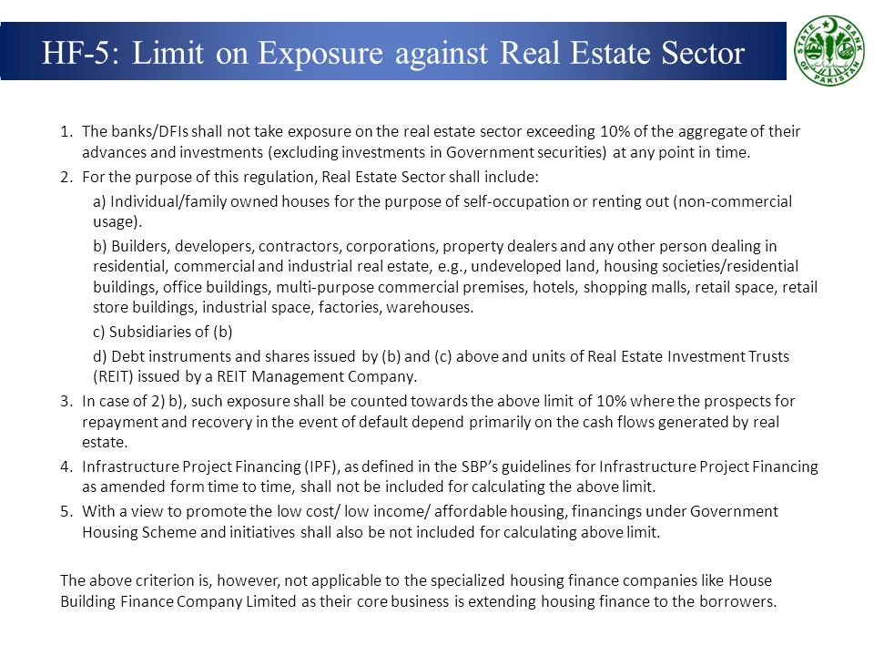 HF-5: Limit on Exposure against Real Estate Sector