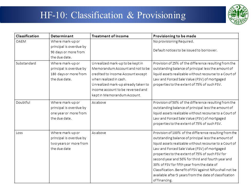 HF-10: Classification & Provisioning