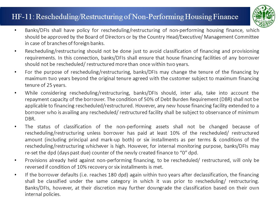 HF-11: Rescheduling/Restructuring of Non-Performing Housing Finance