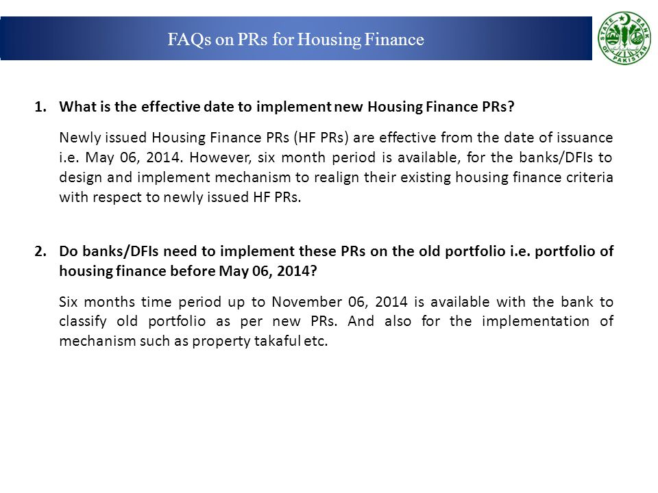 FAQs on PRs for Housing Finance