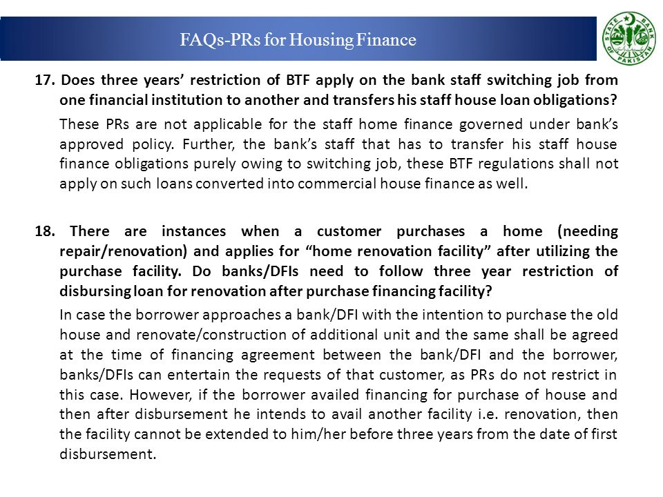 FAQs-PRs for Housing Finance