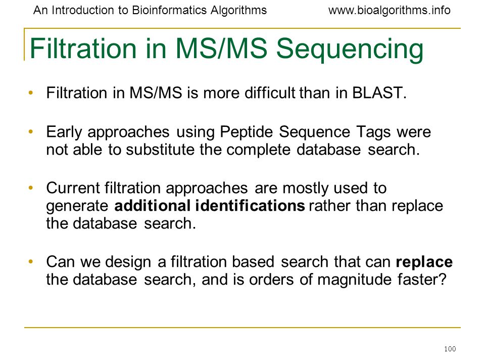 Filtration in MS/MS Sequencing