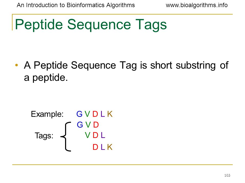 Peptide Sequence Tags A Peptide Sequence Tag is short substring of a peptide. Example: G V D L K.