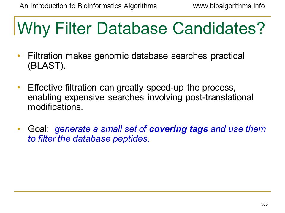 Why Filter Database Candidates