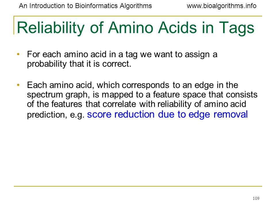 Reliability of Amino Acids in Tags