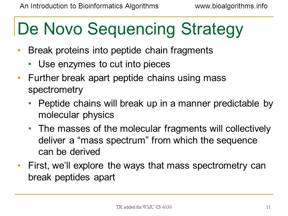 De Novo Sequencing Strategy
