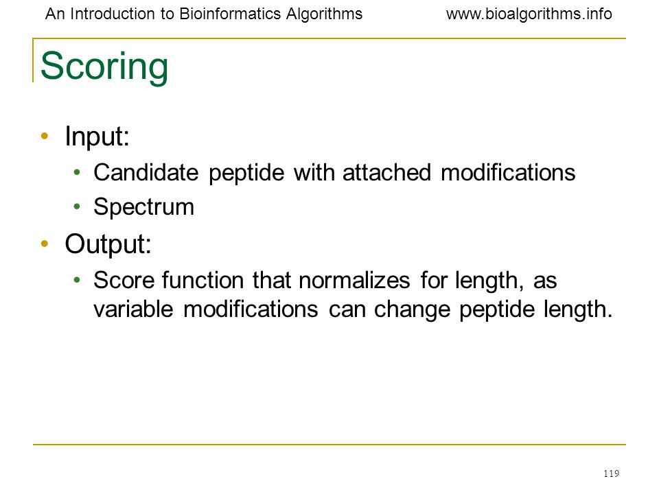 Scoring Input: Output: Candidate peptide with attached modifications