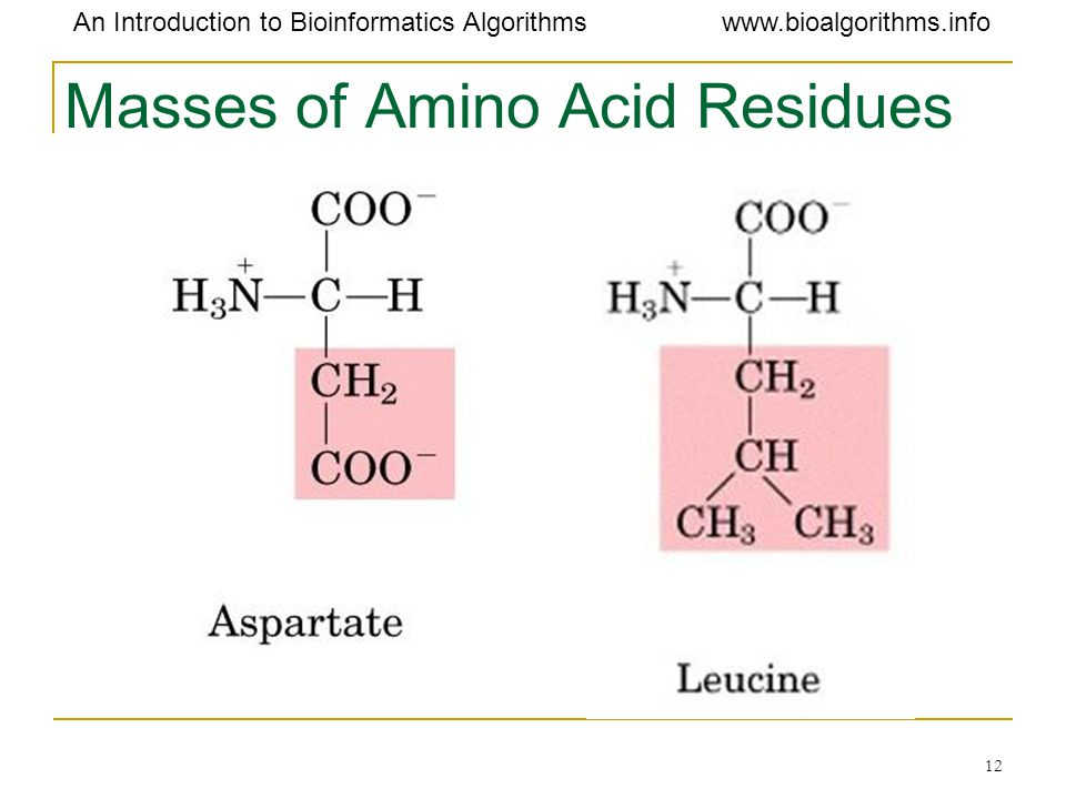 Masses of Amino Acid Residues