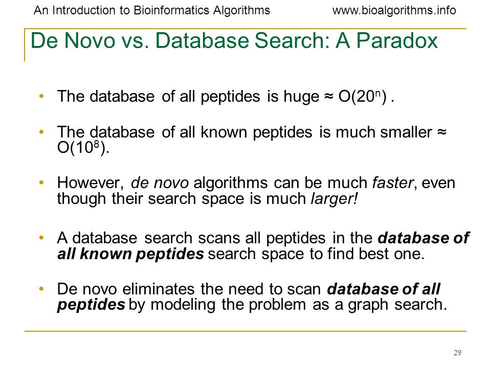 De Novo vs. Database Search: A Paradox