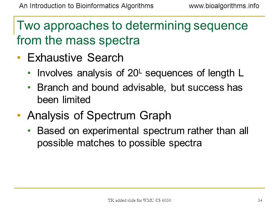 Two approaches to determining sequence from the mass spectra