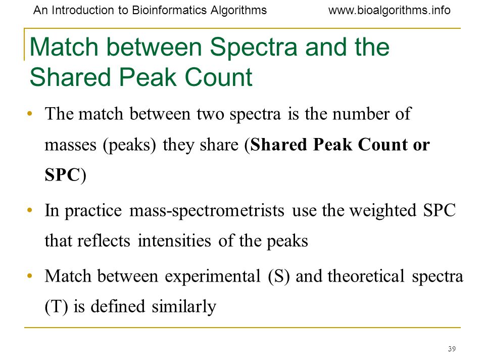 Match between Spectra and the Shared Peak Count