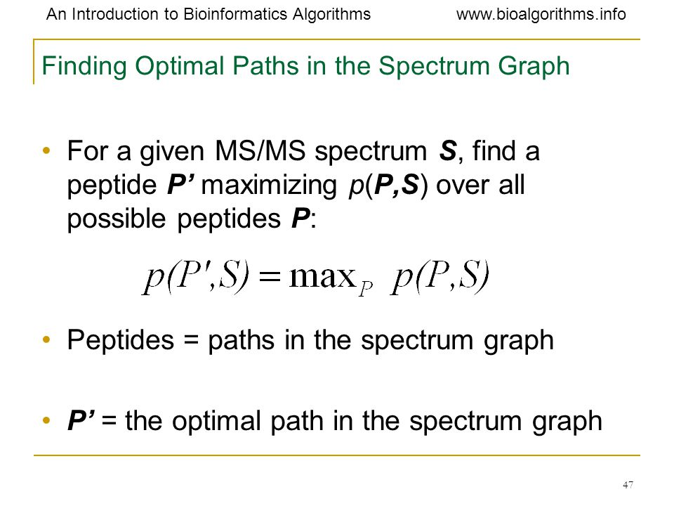 Finding Optimal Paths in the Spectrum Graph