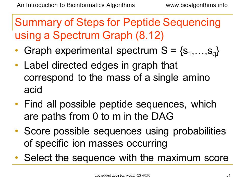 Summary of Steps for Peptide Sequencing using a Spectrum Graph (8.12)