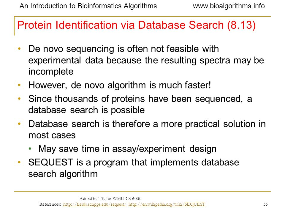 Protein Identification via Database Search (8.13)