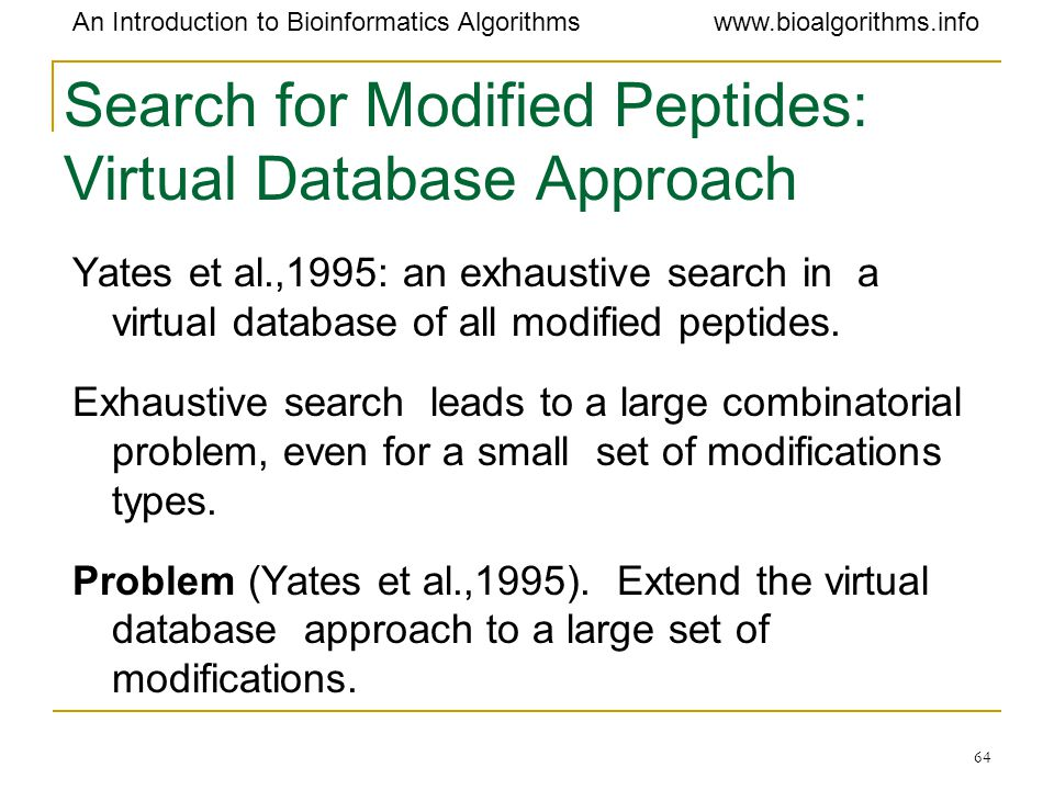 Search for Modified Peptides: Virtual Database Approach