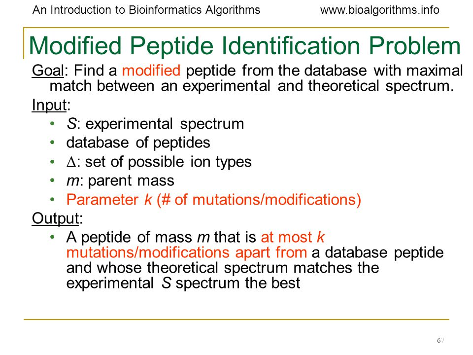 Modified Peptide Identification Problem