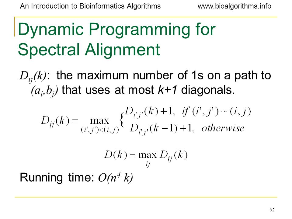 Dynamic Programming for Spectral Alignment