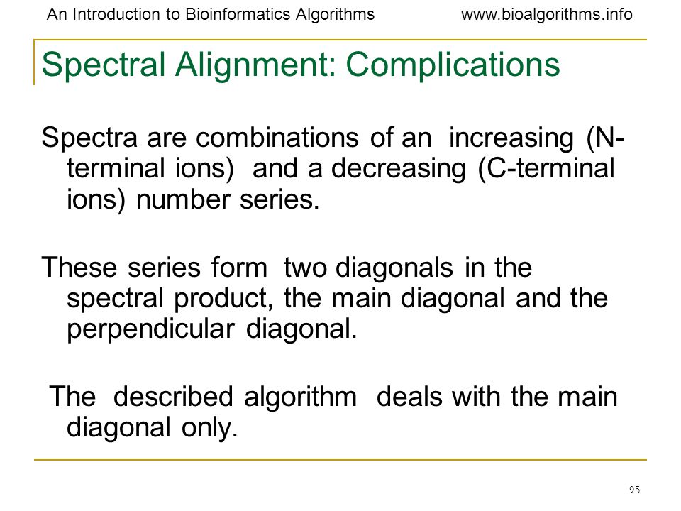Spectral Alignment: Complications
