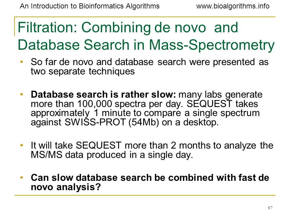 Filtration: Combining de novo and Database Search in Mass-Spectrometry