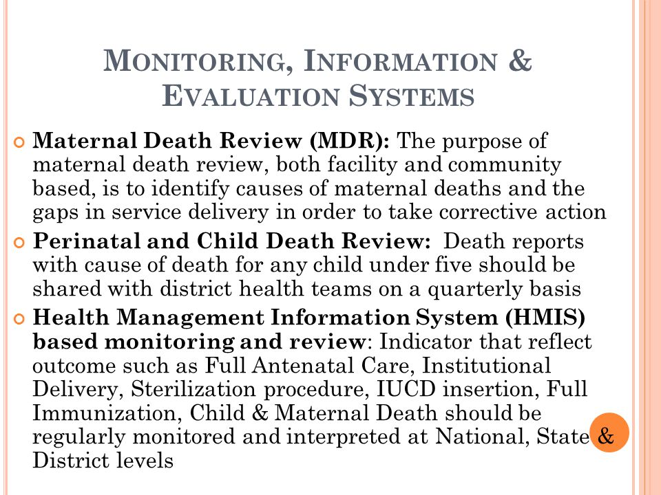 Monitoring, Information & Evaluation Systems