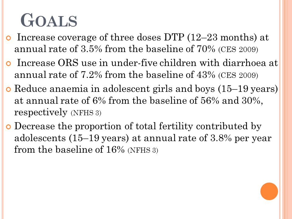 Goals Increase coverage of three doses DTP (12–23 months) at annual rate of 3.5% from the baseline of 70% (CES 2009)