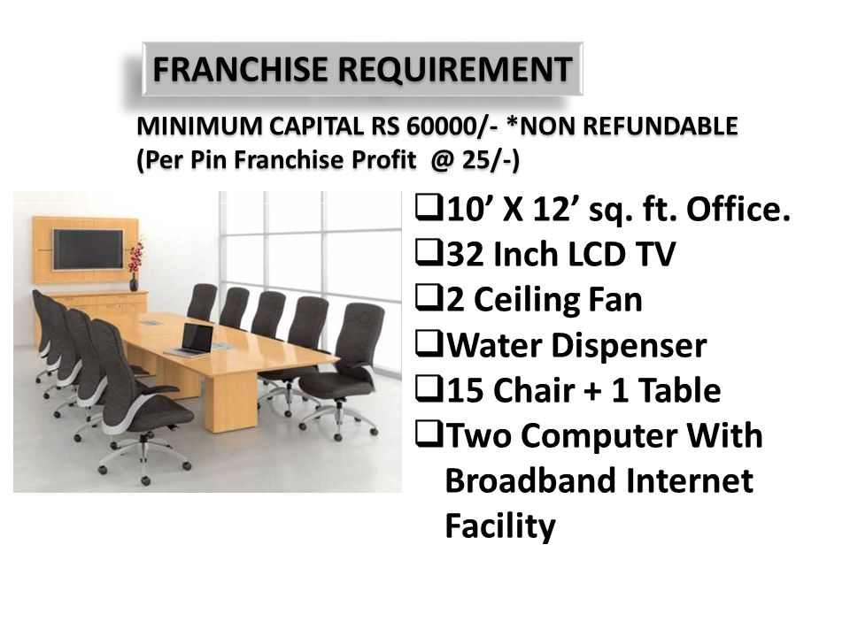 FRANCHISE REQUIREMENT