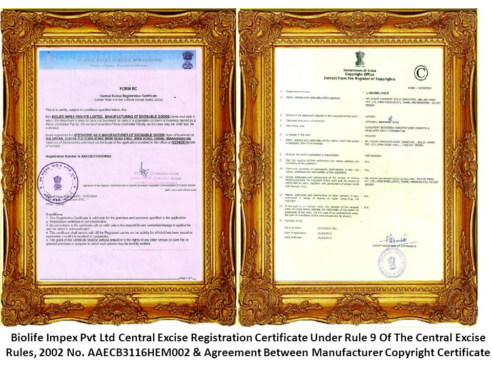 Biolife Impex Pvt Ltd Central Excise Registration Certificate Under Rule 9 Of The Central Excise Rules, 2002 No.
