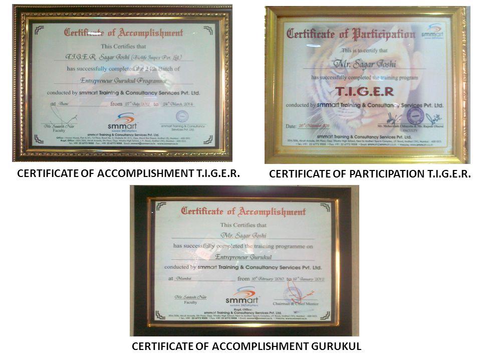 CERTIFICATE OF ACCOMPLISHMENT T.I.G.E.R.