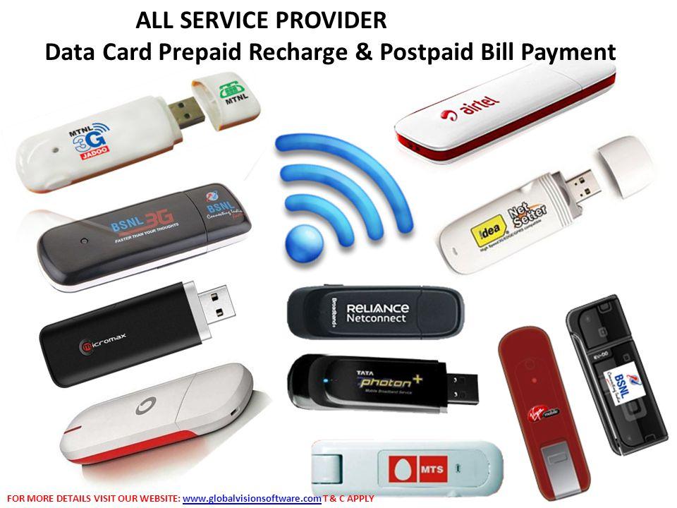 Data Card Prepaid Recharge & Postpaid Bill Payment