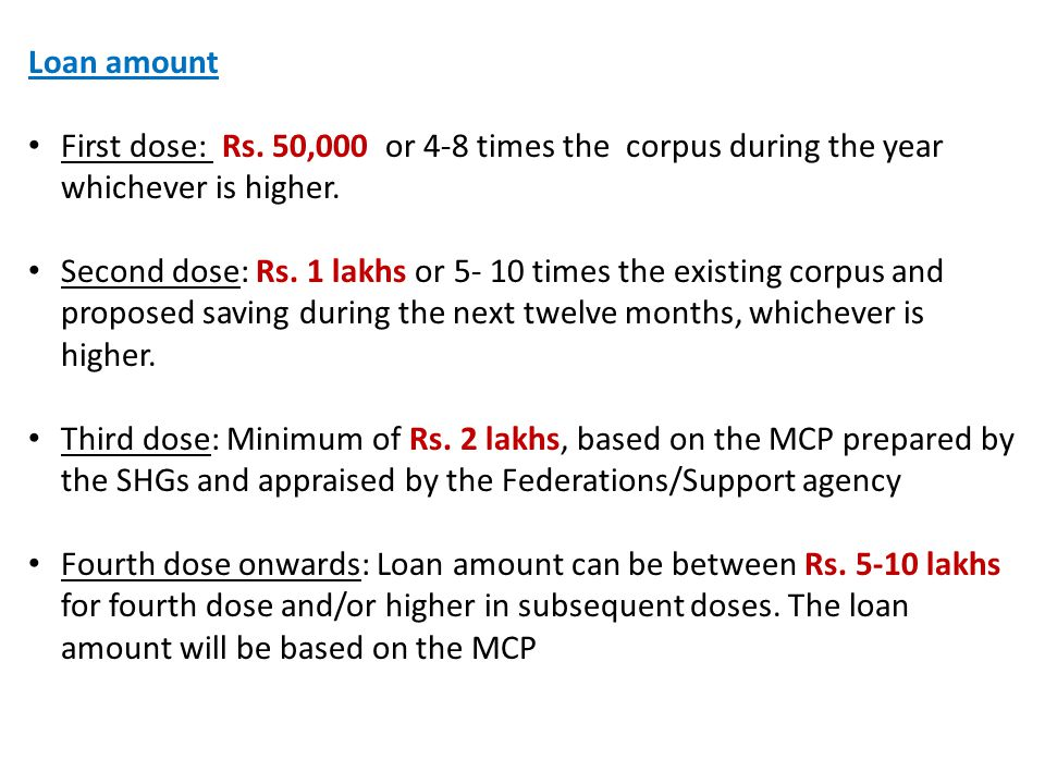 Loan amount First dose: Rs. 50,000 or 4-8 times the corpus during the year whichever is higher.