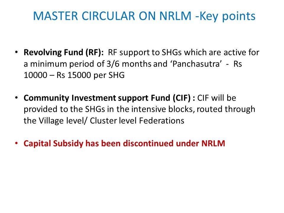 MASTER CIRCULAR ON NRLM -Key points